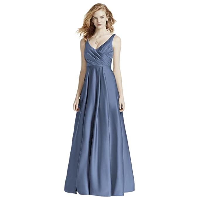 Davids Bridal Satin Tank Long Ball Gown Bridesmaid Dress Style