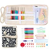 Damero Ergonomic Crochet Hooks Set, Travel Canvas Roll Organizer with 9pcs 2mm to 6mm Soft Grip Crochet Hooks and Complete Knitting Accessories, All in One, Easy to Carry, Animal World