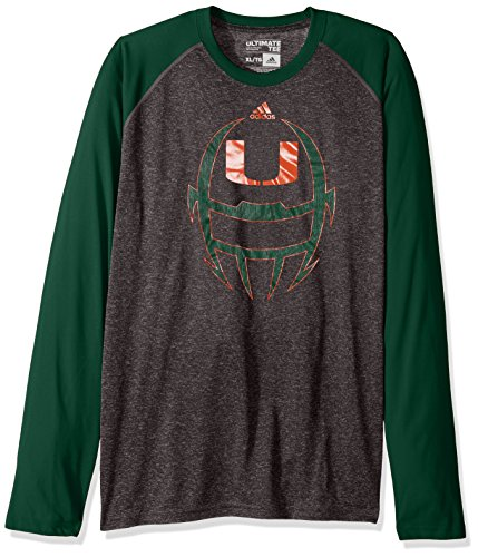 NCAA Miami Hurricanes Adult Men White Noise Helmet Ultimate Raglan L/S Tee, Large, Dark Grey Heathered/Dark (Hurricanes Team Helmet)