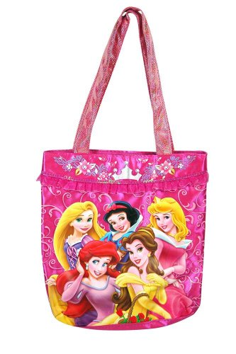 Disney Princess Satin Tote Bag with Glitter Handle &