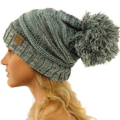 CC Oversized Super Big Slouchy Pom Pom Warm Chunky Stretchy Knit Beanie Hat Mix Mint