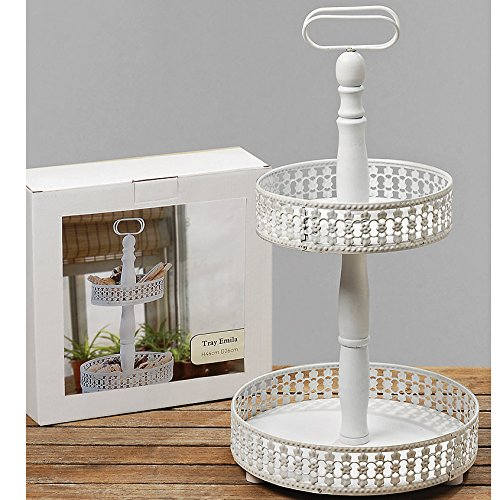 The Emilia Double Tiered Étagère Server Stand, Rustic White, Distressed Finish, Vintage Style, 19 Inches Tall, M.D.F. Wood and Metal, By Whole House Worlds