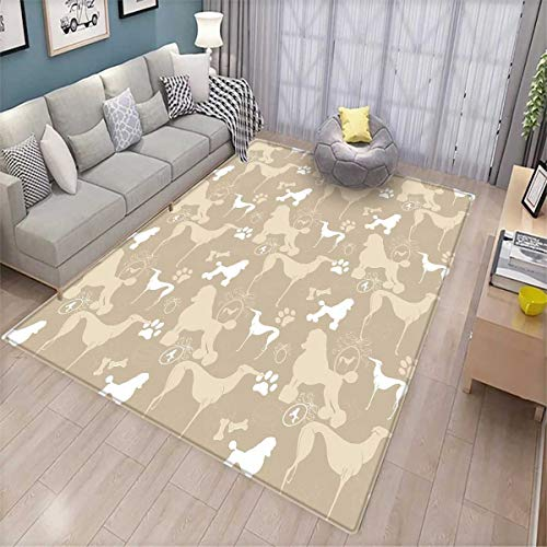 Leash Pet Polypropylene (Dog Lover Kids Carpet Playmat Rug Pet Animals Accessories Leash Paw Print Bone Ornamental Abstract Illustration Door Mats for Inside Non Slip Backing Tan White)
