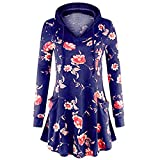 WOCACHI Final Clear Out Womens Floral Hoodies Hooded Pullover Blouses Swing Tunic Tops Pockets Black Friday Cyber Monday Sweatshirt Autumn Bottoming Shirts Long Sleeve (Purple, Small)
