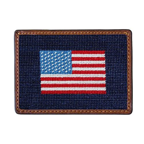 Smathers & Branson Men's Needlepoint Card Wallet American Flag/Dark Navy