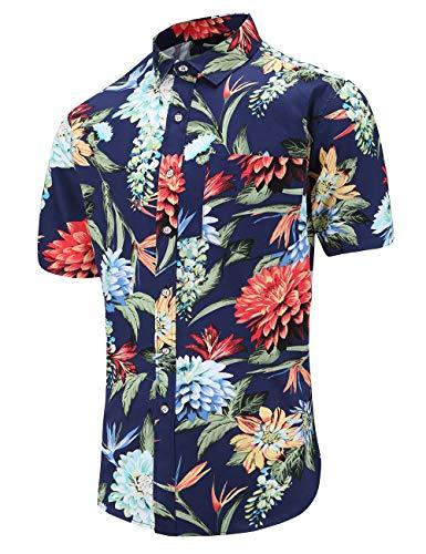 JEETOO Men's Flower Casual Button Down Short Sleeve Hawaiian Shirt(Navyfl,XL) ()