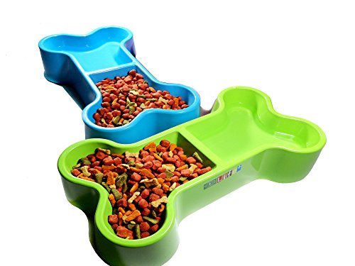 Dog Bowl Pet Food And Water Dish Set Of 2 Pieces Plastic Cat Food Bone Paw Charm Puppy Green - Light Blue ()