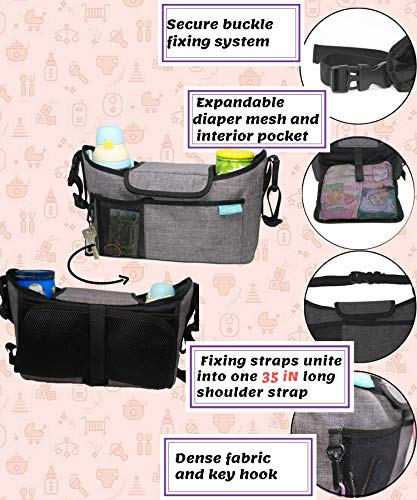 Best Universal Stroller Organizer with Expandable Diaper Bag and Cup Holder (Light Grey, L)