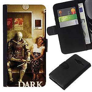 Stuss Case / Funda Carcasa PU de Cuero - Dark S0Ul Warrior - Funny - Samsung Galaxy Core Prime