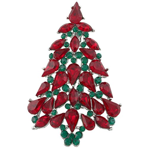 (EVER FAITH Party Christmas Tree Teardrop Red w/Green Austrian Crystal Brooch Pin Silver-Tone)