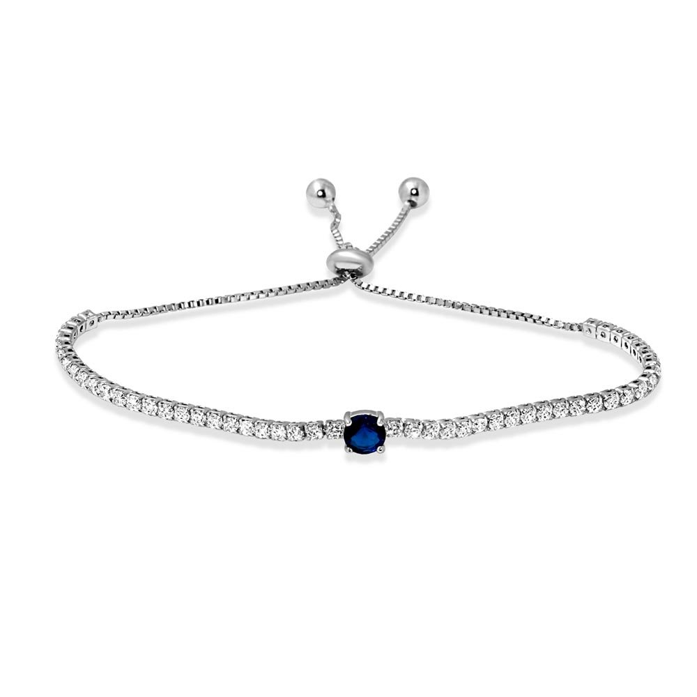 CloseoutWarehouse Round Simulated Sapphire Center Clear Cubic Zirconia Lariat Bracelet Rhodium Plated Sterling Silver