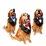 PetFavorites Large Dog Tuxedo Costume - Cat Wedding Bandana Collar with Bow Tie for Halloween - Golden Retriever Sheepdog Clothes Outlets Accessories, Adjustable & Handmade