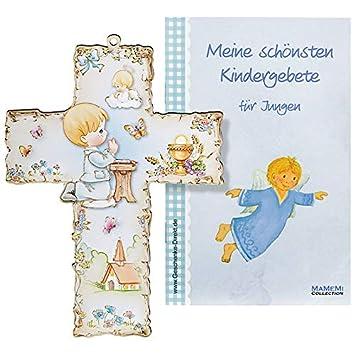 Taufkreuz Kinder-Kreuz Kinderzimmer Bub betend mit Schutzengel