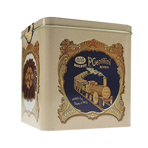 Gentilini The Classic Italian Biscottiera Cookie Tin Box 500 Gram - Pack of 2 ()
