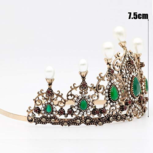 (Mei-Chu Hollow Flower Retro Vintage Women'S Crown Tiara Diadem Resin Crown Turkey India Bohemian Ethnic Wedding Hair Hoop Headband Hair Accessories)