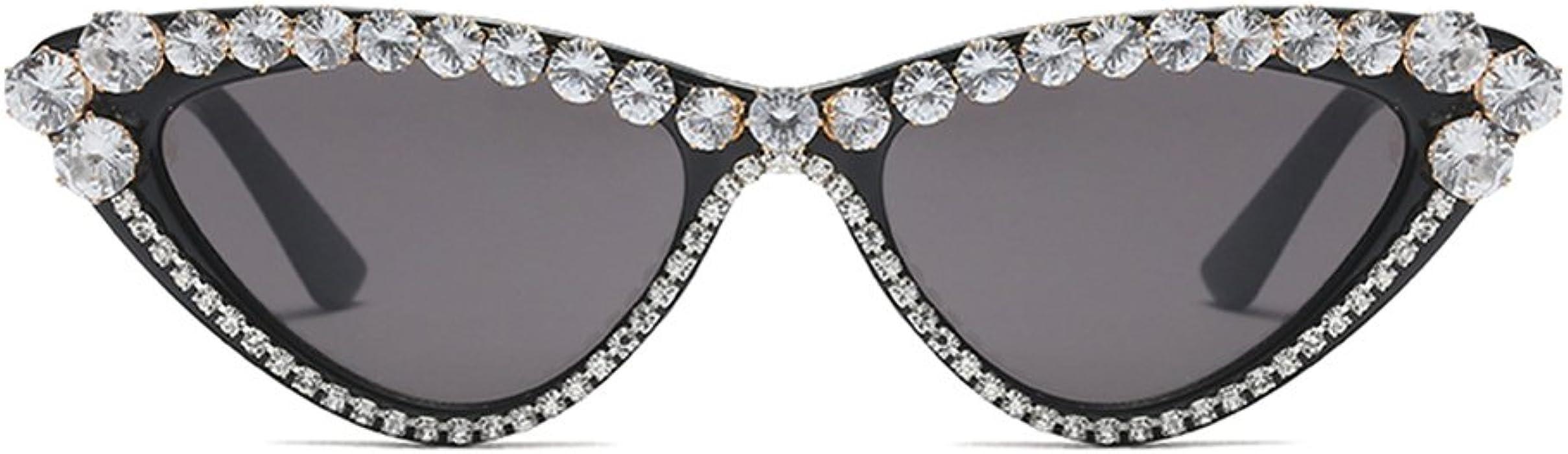 62e98735600 Rhinestone Cat Eye Sunglasses Small Black Luxury Sun Glasses Woman Fashion  Summer