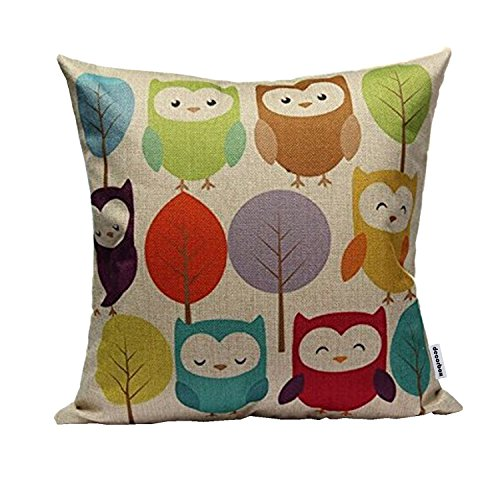 """Price comparison product image Decorbox Cotton Linen Square Throw Pillow Case Decorative Cushion Cover Pillowcase Cartoon Cute Owls and Trees 18 """"X18 """""""