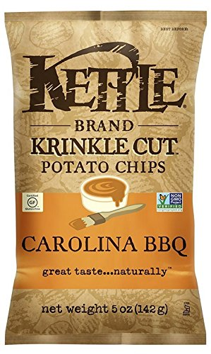 Kettle Brand, Krinkle Cut Potato Chips; Carolina Bbq, Pack of 15, Size - 5 OZ, Quantity - 1 Case by Kettle Brand