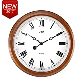 """14"""" Classic Mahogany Large Numbers Easy to Read Silent Non-ticking Home Decorative Analog Wood Battery Operated Wall Clock Roman Numerals"""