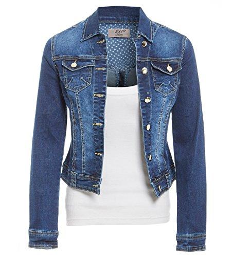 SS7 Femmes Taille 42-48 Denim Stretch Veste Femme Jean Manteaux Bleu Milieu Denim Bleu