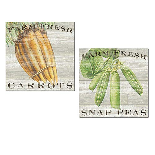 Farm Carrots Fresh - Gango Home Décor Distressed Vintage Farm Fresh Carrots and Snap Peas Produce Signs by Sue Schlabach; Two 12x12in Unframed Paper Posters (Printed on Paper, Not Wood)