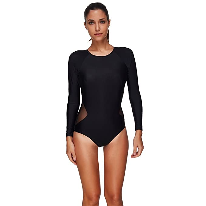 fd638c63a11bc Beachkini Women One Piece Bathing Suit Rash Guard Long Sleeve Swimsuits at  Amazon Women s Clothing store