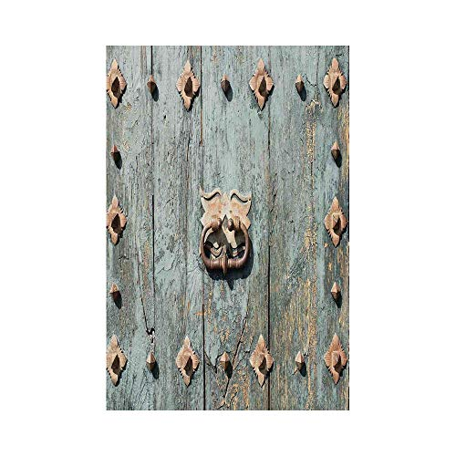 - Polyester Garden Flag Outdoor Flag House Flag Banner,Rustic,European Cathedral with Rusty Old Door Knocker Gothic Medieval Times Spanish Style Decorative,Turquoise,for Wedding Anniversary Home Outdoor