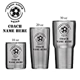 Personalized Coach Insulated Vacuum Sealed Sports Tumbler With Lid - Customized with Team Name, Coach Name, Year (30 oz, Soccer)