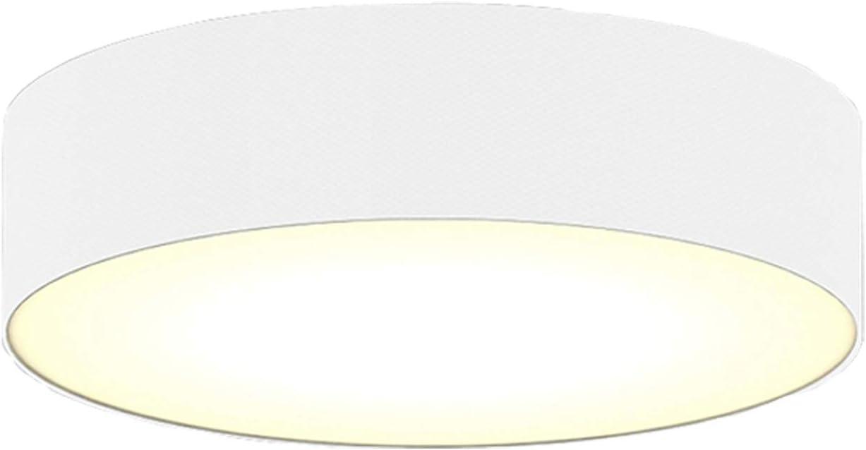 Stoffschirm in Wei/ß /Ø 60cm /& satinierte Abdeckung f/ür blendfreie Beleuchtung Zeitlose runde Deckenleuchte mit LED Licht