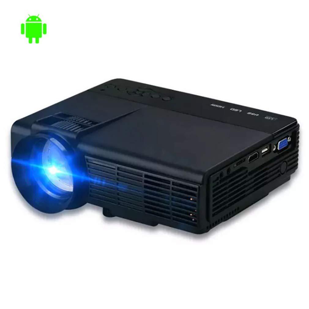ホーム小型スマートポータブルシネマプロジェクター、画面とのWifiワイヤレス接続、操作が簡単、健康的な目の保護、HD、LED、3D、1080 P B07T14KMCZ