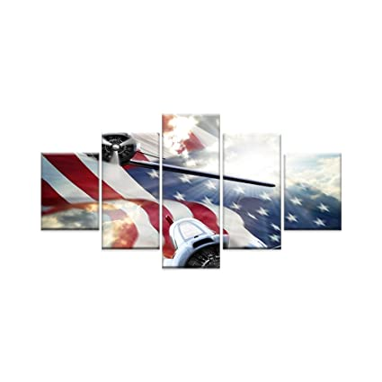 AMEMNY 5 Panels American Flag Canvas Print Art Blue and White Red Home Decor Wall Art