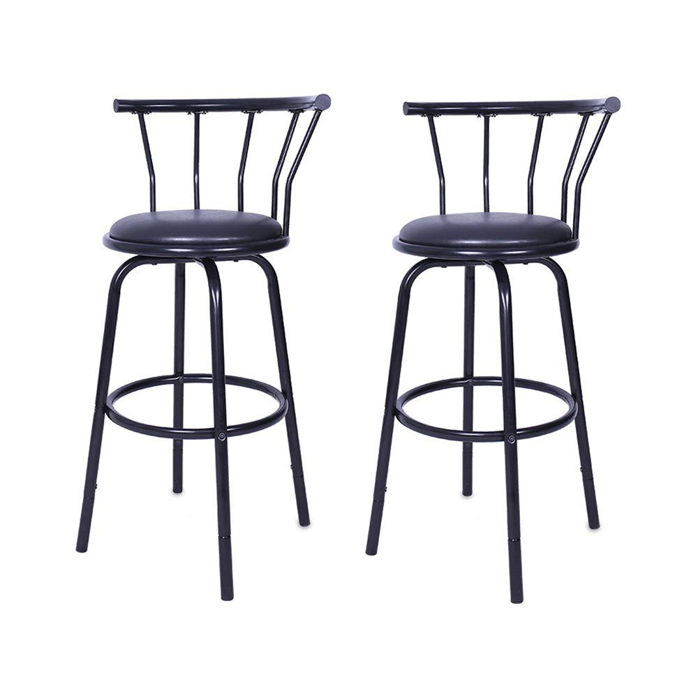 Lotus.Flower Modern Swivel Bar Stool,Barstools Kitchen Counter Height Bar Chairs with Back,Metal Kitchen Dining Chairs 38.6'' H,Set of 2 (Black)