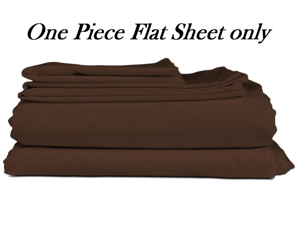 Plum Linen SELL -- Solid Pattern Cal-King Size Flat Sheet Only, 550 Thread Count Egyptian Cotton 1 Piece Luxurious Exotic Series Flat Sheet/Top Sheet Color Chocolate ( Pattern : Solid )