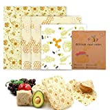 Meowoo Beeswax Food Wraps,Reusable Eco Friendly Bee Wax Wrap,Suitable for Fruits Vegetables Sandwiches etc(4pcs))