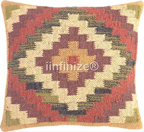 iinfinize - Traditional Pillow Case Kilim Wool Jute Rustic Cushion Cover Vintage Bohemian Pillow Square Shape Indian Handwoven Hippie Boho Decorative Throw Gorgeous Decor Sofa Shams Bed Pillow