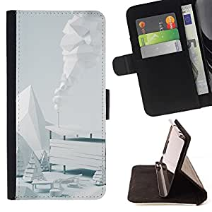 DEVIL CASE - FOR HTC One M7 - White Winter Scenery - Style PU Leather Case Wallet Flip Stand Flap Closure Cover