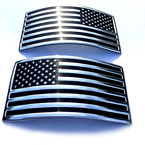 Car Decal Badge (Auto Medals USA US American Flag x 2 Chrome Flexible Badge Decal Emblem for Car Truck SUV)