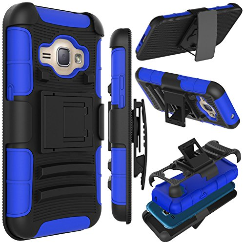 J1 2016 Case, Zenic(TM) Hybrid Full-body Protective Case Cover with Kickstand & Belt Clip Holster Combo for Samsung Galaxy J1 J120 (4.5 inch ) / Amp 2 / Express 3 / Luna 2016 (Dark Blue) ()
