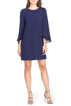 df60100969e Tahari Brand - Women s Lace Trim Bell-Sleeve Shift Dress - Navy at Amazon  Women s Clothing store