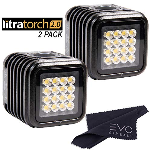Litra LitraTorch 2.0 [2 Pack] On Camera LED Light for Photos and Videos, Waterproof 20M, 810G Military-Grade, 4-Hour Rechargeable Battery, Includes Mount, Diffuser + EVO Gimbals Microfiber Cloth