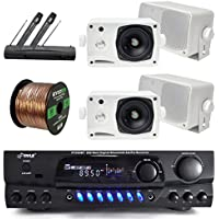 Pyle Bluetooth Digital Karakoe Receiver Amplifier Bundle Combo W/ 4x 3 3-Way Wall Mount Speakers (Black or White) + Wireless Handheld Dual Microphone System + Enrock 50 Ft 16g Speaker Wire