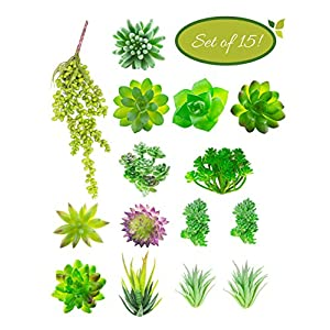 Artificial Succulent Plants Unpotted (15pcs) - Faux Succulents Used for Wreaths or Wedding Centerpieces - Fake Succulent Plants for Home Decor and Mini DIY Crafts 73