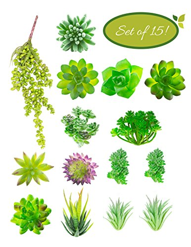 Artificial Succulent Plants Unpotted (15pcs) - Faux Succulents Used for Wreaths or Wedding Centerpieces - Fake Succulent Plants for Home Decor and Mini DIY Crafts
