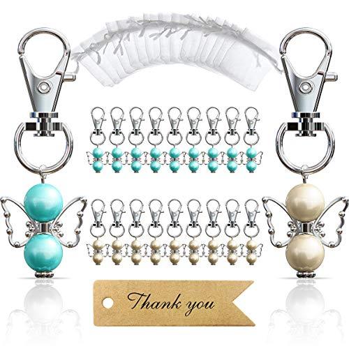 iZoeL 20pcs Angel Favor Keychains plus Organza Bags plus Thank You Kraft Tags, Guest Favors for Baby Shower, Bridal Shower, Wedding Charm, Party Favors(Mix Color)