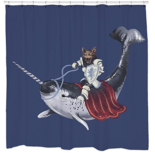 Funny Cat Riding Narwhal Blue Shower Curtain Unicorn of the Sea Nautical Animal Decor