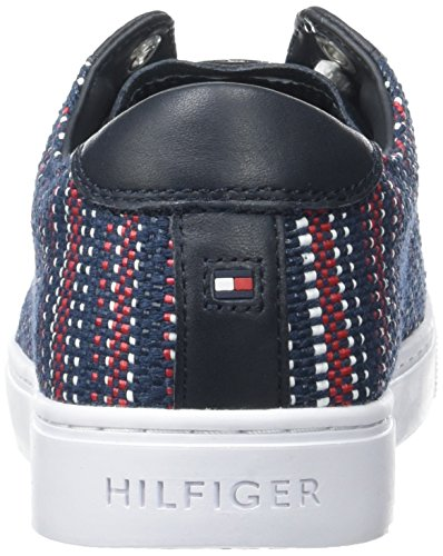 Low Tommy Hilfiger V1285enus Blue Sneaker interweave Rwb 911 Women's Neck 1c1 r4RqarX