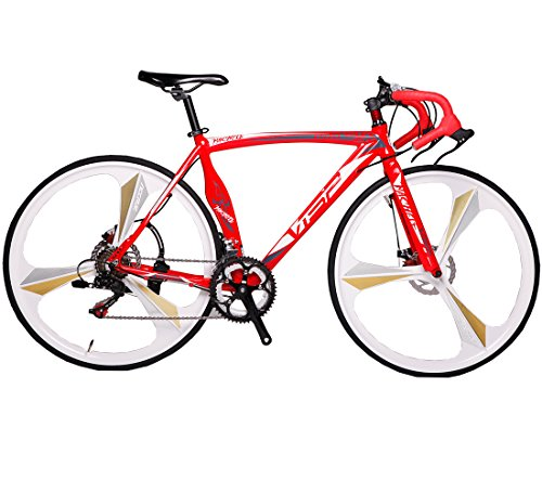 VTSP MC Red 3 Spokes 51/54cm 700C Shimano 14 Speeds Road Bike For Man Mechanical Disc Brakes Road Bicycle Gift For Man