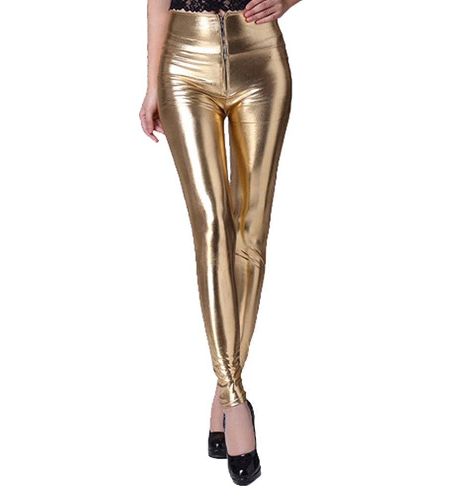 b4f45d073 YeYan Brillante Pantalones Mujer Largos Leggings Pantalones De Cuero Estilo  para Mujer Leggins De Talle Alto