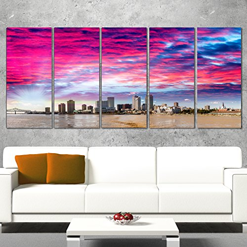 Designart New Orleans Building and Skyscrapers-Modern Cityscape Canvas Wall Art-60x28 5 Piece, 60x28-5 Equal Panels