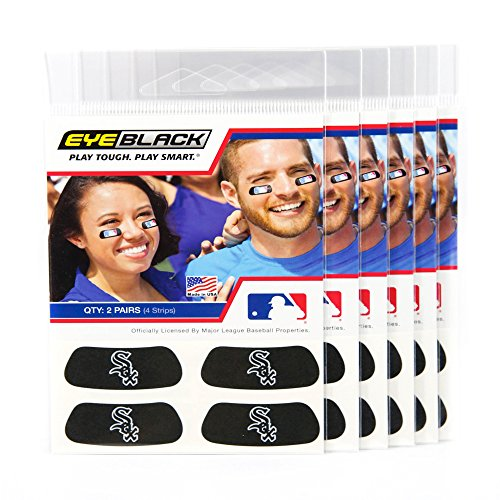 (24 Strips) Eye Black - Chicago White Sox MLB Eye Black Anti Glare Strips, Great for Fans & Athletes on Game Day ()